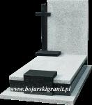128z Nowoczesny wzór nagrobka z czarnym kamiennym krzyżem.