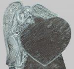 Tablica na pomnik cmentarny. Rzeźba: Anioł i serce.