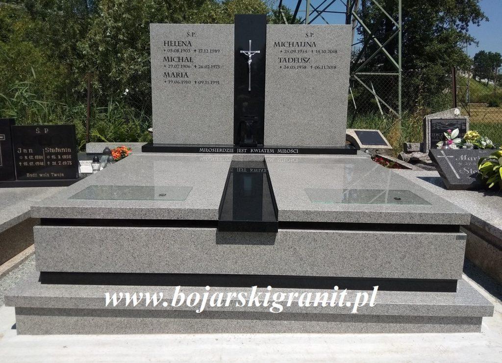 Pomnik podwójny szaro-czarny. Przykładowa realizacja